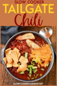 Knock it out of the park at your tailgates this fall with this crowd pleasing Slow Cooker Tailgate Chili! #slowcookergourmet #slowcooker #tailgate #chili #beer #beef #pork #chocolatepowder #fireroastedtomatoes #cilantro #chilipowder