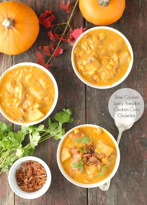 Slow Cooker Pumpkin Chicken Corn Chowder