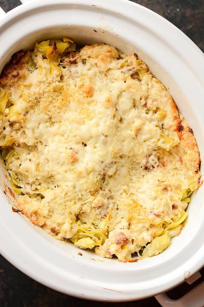 Slow Cooker Artichoke Dip in slow cooker