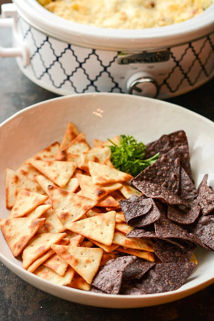 Slow Cooker Artichoke Dip - perfect with pita chips and blue corn chips