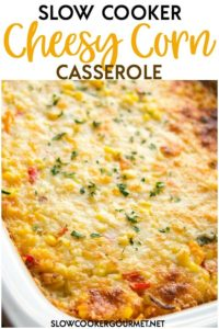 Cheesy and creamy side dishes are always perfect for the holidays! This Slow Cooker Cheesy Corn Casserole is so easy and crowd pleasing and with peppers in it, it gives your dinner a kick! Save oven space and whip up this delicious casserole for anything from Thanksgiving dinner to a BBQ dinner! #slowcooker #cheesycorn #holidaysides #thanksgiving