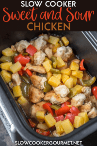 So much better and way healthier than take-out! Make this Sweet and Sour Chicken in your slow cooker for a quick weeknight dinner! #sweetandsour #chicken