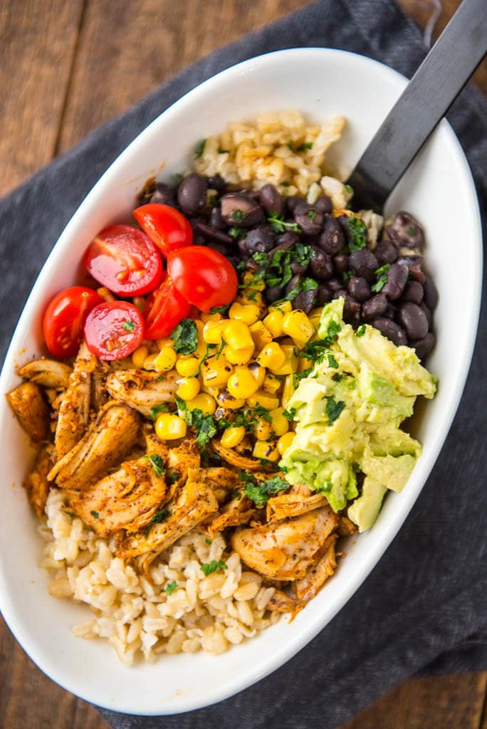 Meal Prep Chicken Burrito Bowls Pressure Cooker Whole