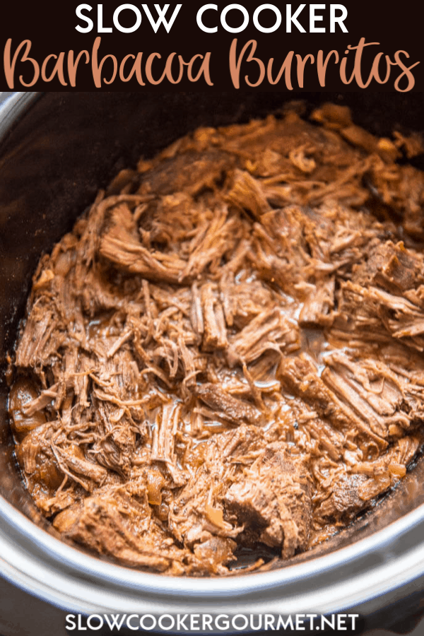 Slow Cooker Barbacoa Burritos are the easy alternative to take-out. A perfect summer family meal all wrapped up! #slowcooker #barbacoa #burritos