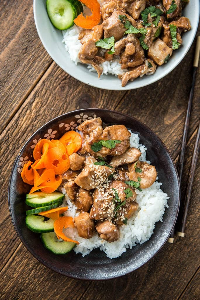 Slow Cooker Ginger Chicken is a healthier take-out style recipe for a family friendly meal that everyone should keep on hand! So quick and easy to make you'll never need to get take-out again!