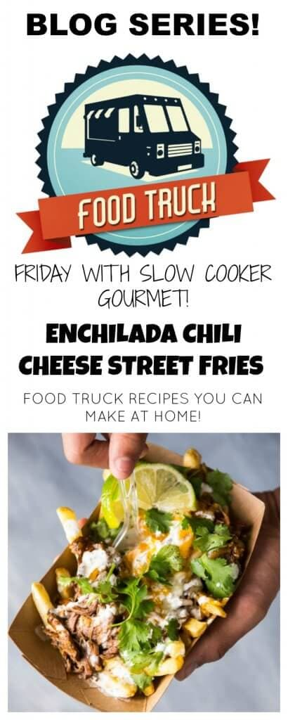 Slow Cooker Enchilada Chili Cheese Street Fries are a fun way to bring food truck style fair home! Makes great party food or a fun family dinner!