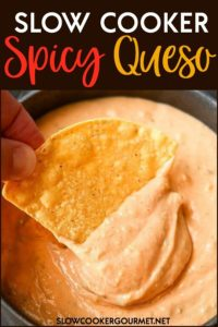Made from scratch spicy queso is super simple to make using your slow cooker! Perfect for game day, last minute guests, or even for dinner! #slowcooker #spicy #queso