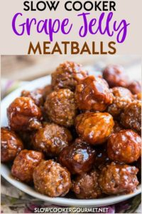 Slow Cooker Grape Jelly Meatballs are a classic holiday treat! Easy to make and perfect for family gatherings, entertaining friends and potlucks! #slowcookergourmet #slowcooker #grapejelly #meatballs #appetizer #bbqsauce