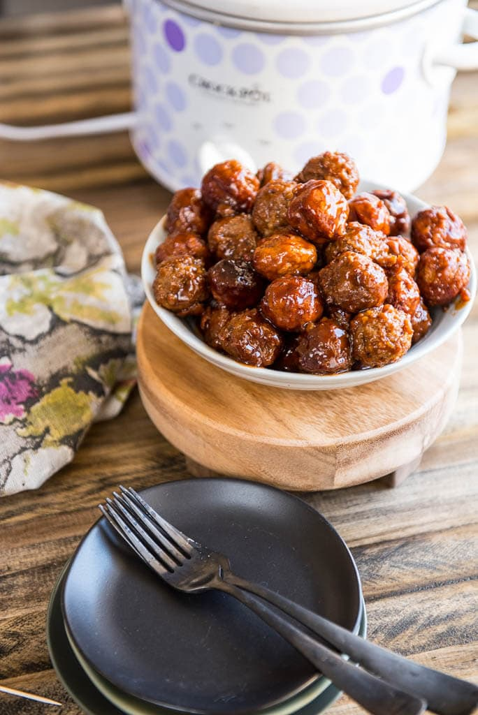 Slow Cooker Grape Jelly Meatballs in a bowl for a party