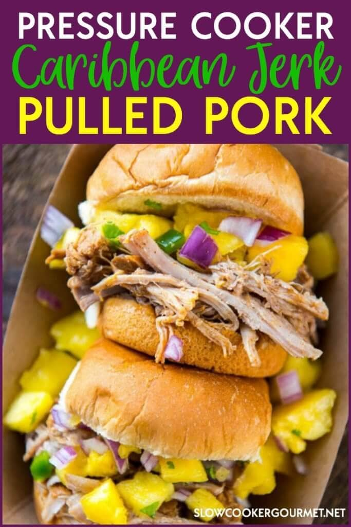 Delicious juicy pulled pork with a Caribbean Jerk kick! This tasty Pressure Cooker Pulled Pork can be made the slow cooker or the Instant Pot! Pressure Cooker Caribbean Jerk Pulled Pork is perfect for a quick and easy refreshing meal.