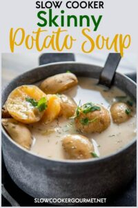 It is totally possible to indulge and eat lighter at the same time when you make this delicious Slow Cooker Skinny Potato Soup! It's quick and simple to make and only tastes rich and creamy! Read my tips to lighten up your next comfort food meal! #slowcooker #skinny #potatosoup
