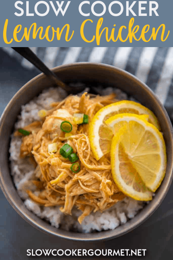 Slow Cooker Lemon Chicken is a simple dinner that can be started in the slow cooker first thing and you can come home to a delicious dinner! Lemon Chicken is just the ticket for a tasty meal that won't leave you feeling guilty for overindulging!  #slowcooker #lemonchicken
