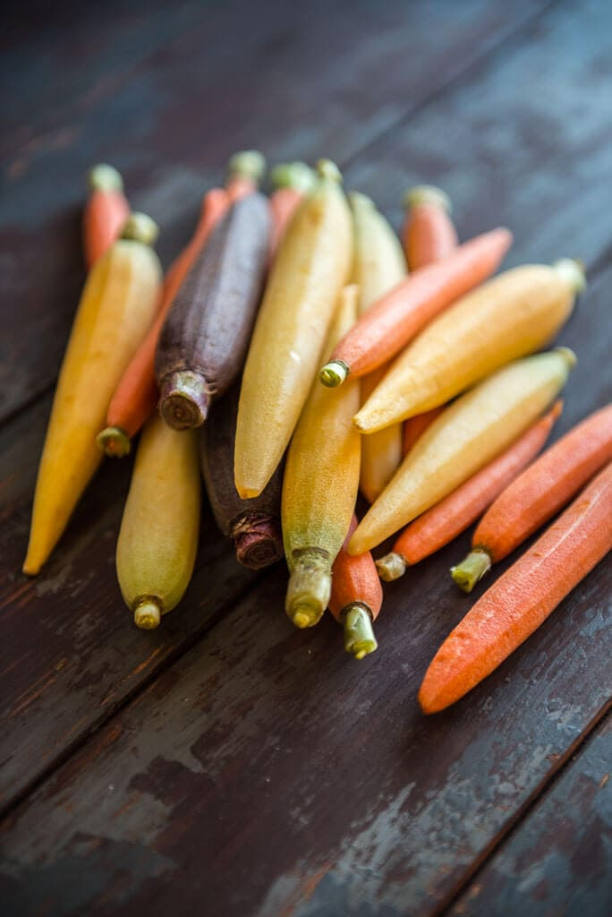 Multicolor carrots ready for making oven roasted carrots
