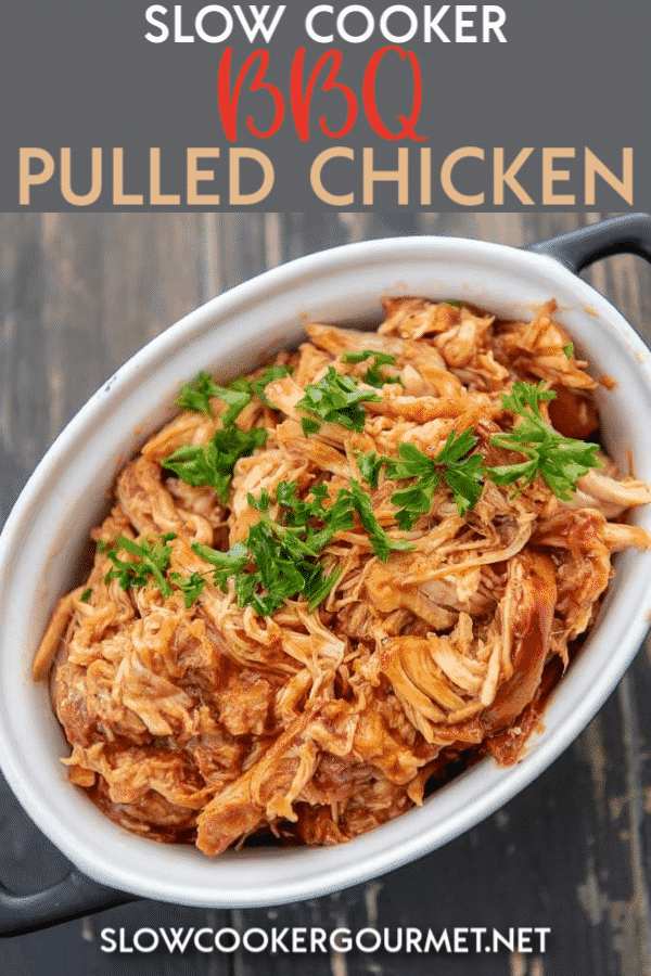 If you are looking a dinner that is so simple yet will get your family and friend scrambling for a seat at the dinner table, why not try this Slow Cooker BBQ Pulled Chicken?! Serve it up as sandwiches, tacos, nachos or anything you can dream up! #slowcooker #bbqchicken #pulledchicken