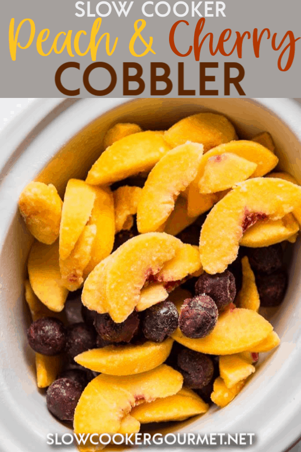 Is there anything better than juicy peaches and tart cherries with a crumble (or is it cobbler?) topping? Yes! When it's topped with ice cream and is easy to make like this Slow Cooker Peach and Cherry Cobbler! #slowcooker #slowcookerdessert #peachcobbler