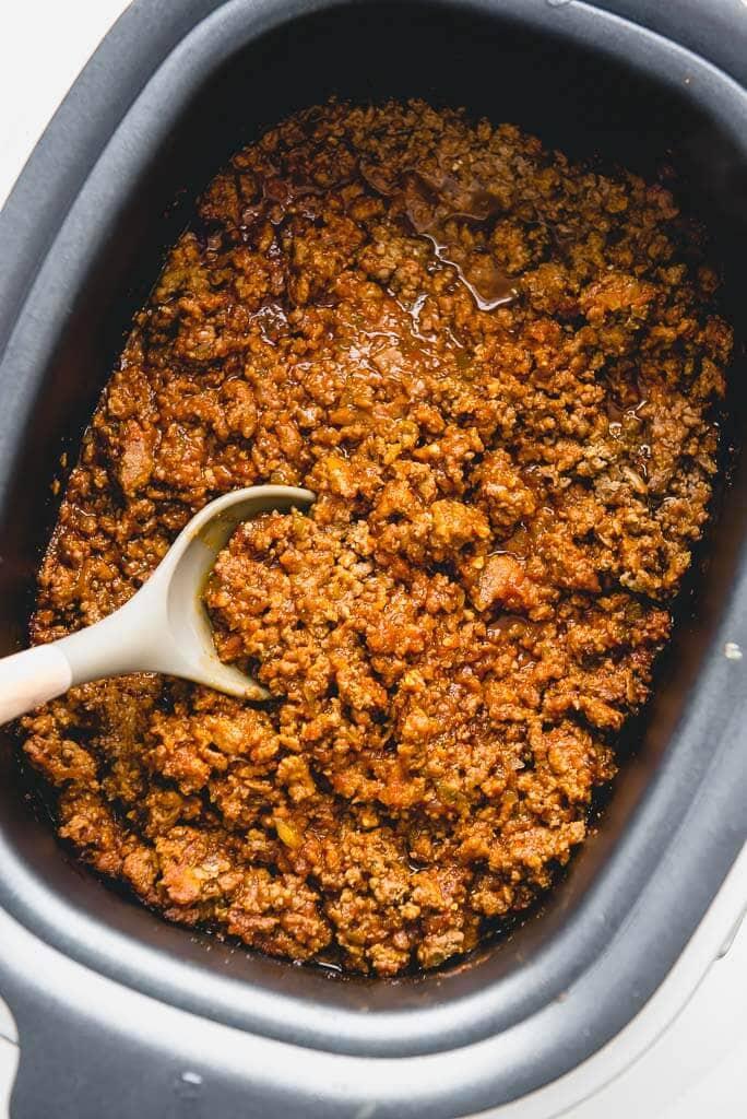 slow cooker full of sloppy Joe meat