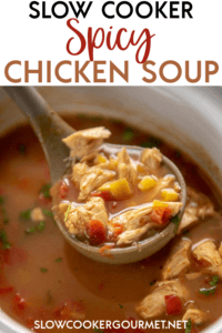 There's no better cure for this endless winter time than Slow Cooker Spicy Chicken Soup! A classic with a kick, this simple to make dinner will become your new favorite go-to! #slowcooker #soup #chickenrecipe