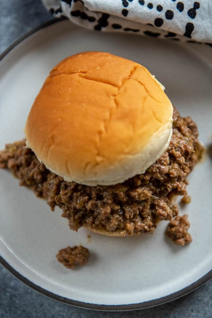 Philly cheesesteak sloppy Joes on hamburger bun