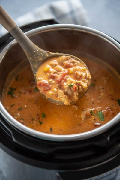 ladle full of buffalo chicken chili from instant pot