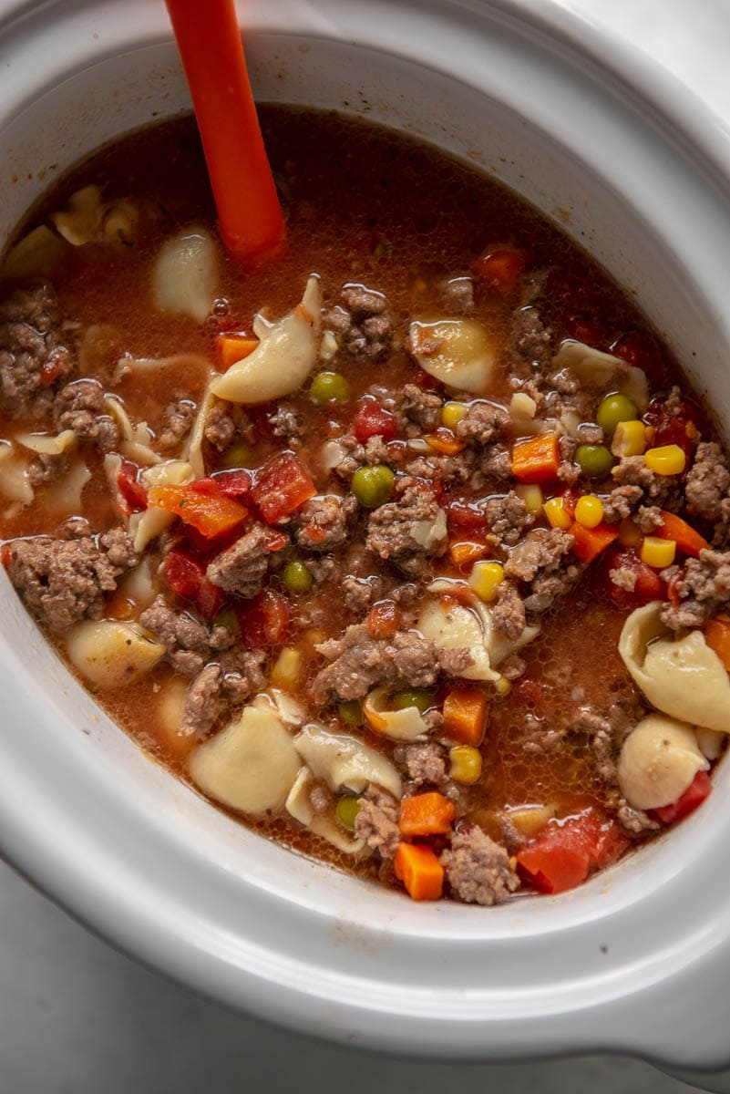 slow cooker with vegetable beef soup