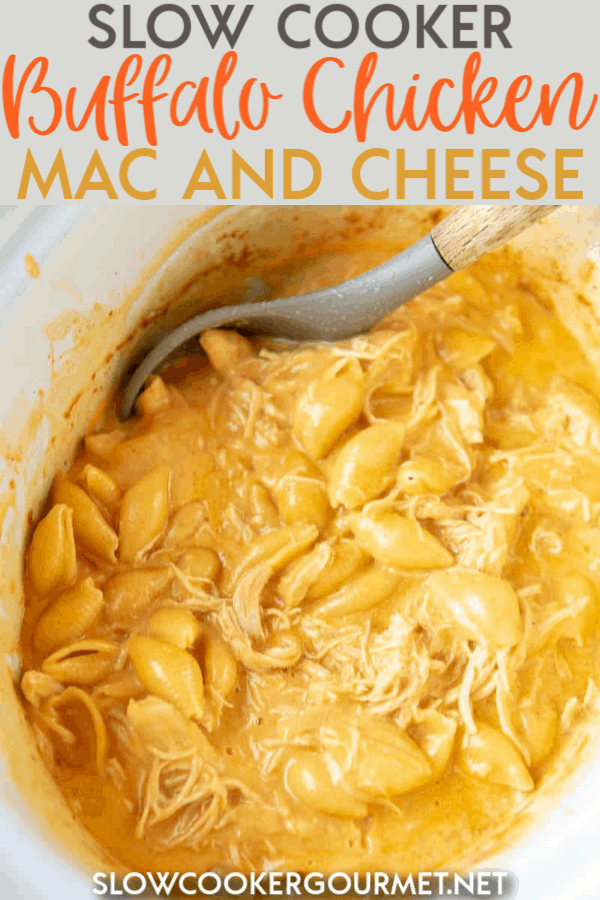 Ready to level up on your mac and cheese game? Slow Cooker Buffalo Chicken Mac and Cheese is just the right amount of insanely easy to make, rich and spicy, and totally creamy with a homemade cheese sauce.  #slowcooker #buffalochicken #macandcheese