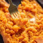 forkful of baked sweet potato