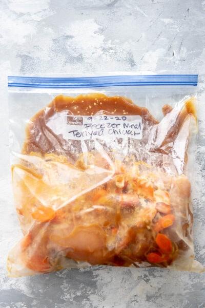 ingredients for chicken teriyaki in a freezer bag