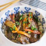 closeup of slow cooker korean beef
