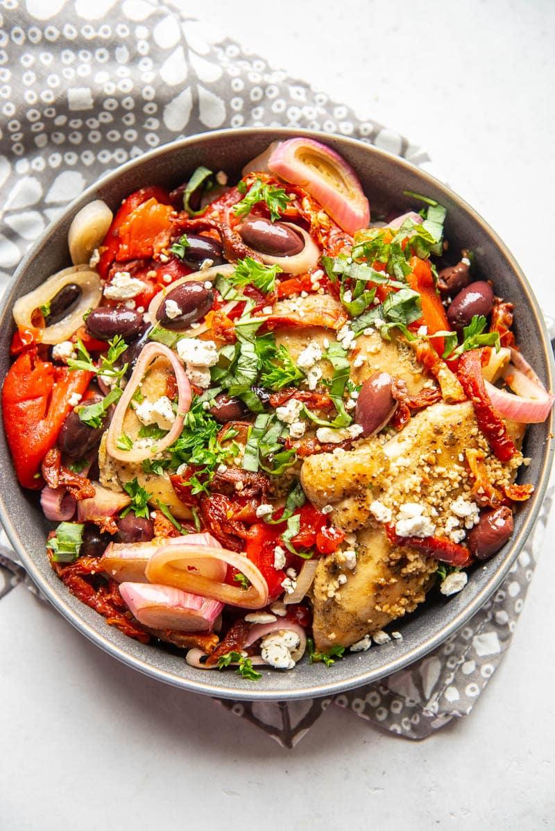 greek chicken in a bowl